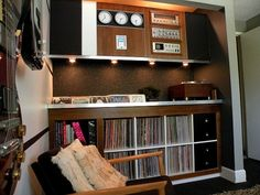 DIY Mad Men, Playboy-Inspired Music Den - I dream at night and during the day of my music room. A room for me… And my love - Lp Storage, Vinyl Storage, Record Storage, Storage Organization, Storage Ideas, Home Music, Home Studio Music, Music Den, House Studio