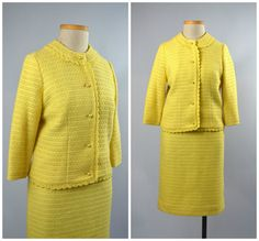 Jackie  Vintage 50s-60s Yellow Dress Suit  by RevengeOfTheDress
