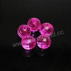 Acrylic Beads, Transparent hot pink, Faceted round, Approx 8mm, Hole: Approx 2mm, 1700 pieces per bag, Sold by bags