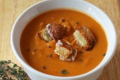 Sweet potato soup and cheese croutons | Sweet potatoes are packed with Vitamin A to help your eggs mature properly, and will help support a pregnancy if you do conceive this cycle.