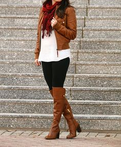 Over the knee boot outfit idea on Peaches In A Pod blog.