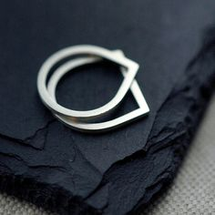 Finer Silvery Eve droplet silver ring by Minicyn