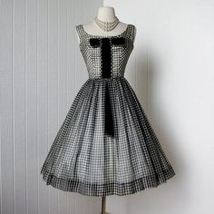 vintage 1950's dress black & white organza GINGHAM full par traven7 | whats been spotted on etsy today? | Scoop.it