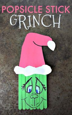 Popsicle Stick Grinch Craft Create this super cute Popsicle Stick Grinch with your kids this holiday season. A perfect pairing with the classic book and movie. Preschool Christmas, Christmas Ornament Crafts, Grinch Christmas, Christmas Activities, Christmas Crafts For Kids, Christmas Projects, Holiday Crafts, Christmas Decorations, Snowflake Ornaments