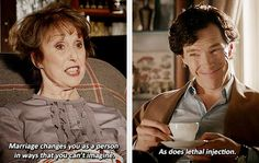 Sherlock and Mrs. Hudson chatting over tea.