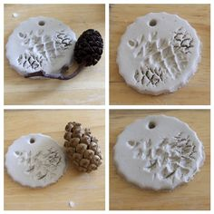 Funky Sunday: 12 deco ideas to make yourself with pine cones – Air Dry Clay Pinecone Ornaments, Dough Ornaments, Diy Christmas Ornaments, Holiday Crafts, Clay Christmas Decorations, Christmas Trees For Kids, Christmas Clay, Homemade Christmas, Christmas Ideas