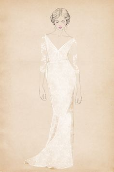 v-neck at Matha Stewart Weddings by Sandra Suy - Pencil, Watercolor illustration. Fashion, Beauty
