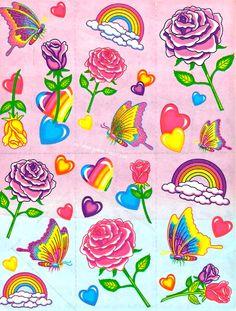 54f9834a0ca202  LisaFrank Roses  amp  Rainbows Stickers Cartoon Stickers