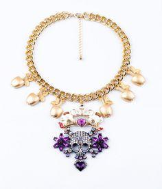 Elegant Rhinestone Skull Necklace