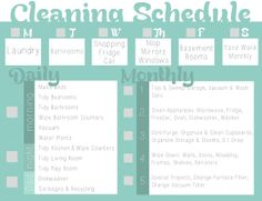a cleaning schedule idea - along with a free blank printable