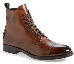 To Boot New York: Stallworth Cap-Toe Boots in Cognac Leather Me Too Shoes, Men's Shoes, Shoe Boots, Dress Shoes, Shoes 2016, Men Boots, Celebridades Fashion, Boots Cuir, Cognac Boots