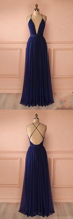 Simple Sexy A-Line Deep V-Neck Navy Blue Long Prom Dress