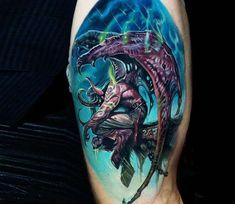 Tattoo photo - Illidan Stormrage tattoo by Boris Tattoo Love Tattoos, Body Art Tattoos, Tattoos For Guys, I Tattoo, Tattoo Images, Tattoo Photos, Illidan Stormrage, Gaming Tattoo, Anime Tattoos