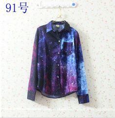 drop  shipping 2013 spring fashion tie-dyeing HARAJUKU gradient color turn-down collar long-sleeve shirt $20.03
