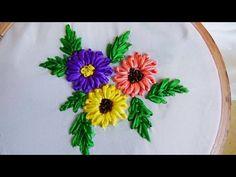 Hand Embroidery: Lazy Daisy Flower (in Ribbon Work) Hand Embroidery Projects, Hand Embroidery Flowers, Embroidery Stitches Tutorial, Embroidery Supplies, Embroidery For Beginners, Hand Embroidery Designs, Ribbon Embroidery Tutorial, Silk Ribbon Embroidery, Ribbon Art