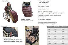 Køreposer og dun benposer - Tøj til handicap og kørestol