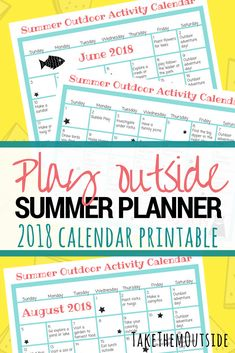 Play outside more this summer with printable summer activity calendars for 2018. These printable summer planners are full of outdoor adventure and nature activity ideas for kids and families | #printables #summerfun #kidsactivities #summercalendar #summerplanner #homeschooling #takethemoutside #getoutside