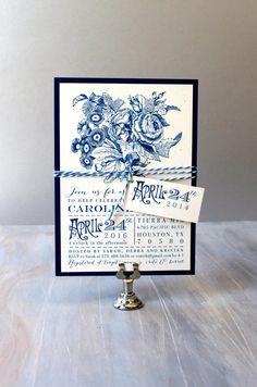 Floral Bridal Shower Invitations, Cobalt Blue Bridal Shower Invites, Royal Blue Wedding Shower - 12 Colors To Choose From, - Deposit