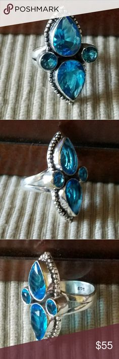 "BLUE TOPAZ RING Gorgeous 1"" Blue Topaz Ring in Solid ""Stamped 925"" Sterling Silver (Size 8) Jewelry Rings #jewelryrings"