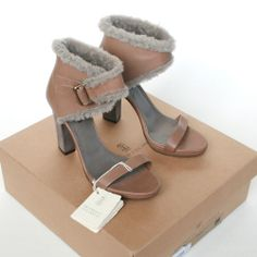 BRUNELLO CUCINELLI $970 shearling fur cuff shoes sandals heels pumps 39/9 NEW
