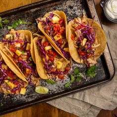 Jamaican Jerk Turkey Tacos : Caribbean flavors of jerk seasoning, pineapple, lime and spicy tomatoes kick up these leftover turkey tacos Jerk Turkey, Turkey Tacos, Jerk Chicken, Chicken Tacos, Jamaican Dishes, Great Recipes, Favorite Recipes, Leftover Turkey Recipes, Cooking Recipes