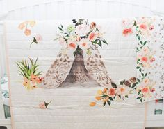 Teepee Quilt- Girls Blanket - Baby Blanket - Baby Bedidng - Toddler Blanket - Quilt - Boho Quilt - Aztec - Peach and Cream with Pinks