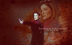 Star Trek Voyager. Love Janeway, a strong but fair character!