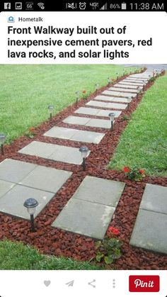 Using cheap concrete block you can create the look of stone pavers diy inexpensive walkway with lava rock pavers and solar lights add to space between pool and deck solutioingenieria Images