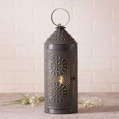 "18"" Chimney Lantern in Blackened Tin"