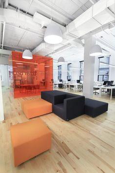 Meeting space in open floor plan office environment