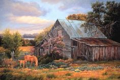 Something Old, Something New by June Dudley - Country and horses Acrylic Painting Tips, Love Painting, Old Cabins, West Art, Country Scenes, Equine Art, Something Old, Fine Art Gallery, American Artists