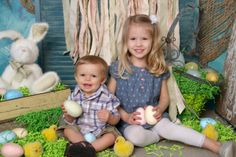 """""""Sibling Easter Love"""" Children's Photography by Portrait Creations portrait studio in Charlotte, NC."""
