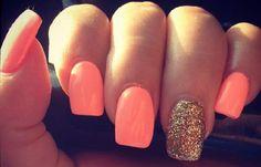 Uñas decoradas colores neón, uñas decoradas colores neón naranja. Clic y Síguenos,  #uñasdecolores #nails #uñaselegantes