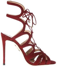 Aquazzura Red Open Laced Up Sandals In Suede. Women s Shoes ... e88690a6a422