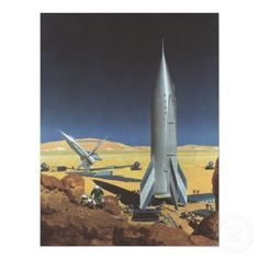 Vintage Sci Fi Science Fiction Rocket on Planet Print