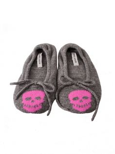 Grey Skull Slippers by Autumn Cashmere