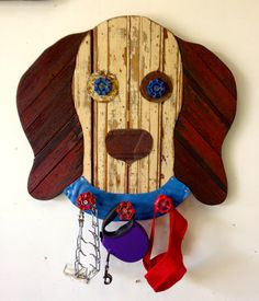 Dog Face with Hooks by RidleyStallingsArt on Etsy Reclaimed Wood Art, Wooden Walls, Wall Sculptures, Make And Sell, Dog Stuff, Wood Working, Wood Crafts, Fur Babies, Pallet