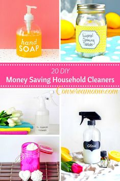 20 DIY Money Saving Household Cleaners that help you save money and know what goes into your cleaners, that are easy to make .