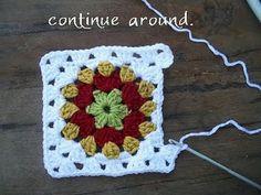 in the round crochet granny square tutorial