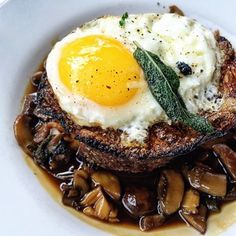 Grilled Mushrooms With Fried Sage And Poached Egg Yolks Recipe ...