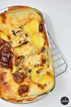 Roślinna : Kremowa zapiekanka z pieczarek i ziemniaków
