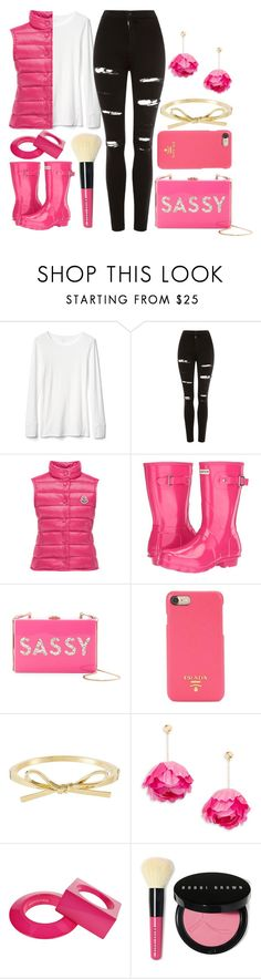 """""""Pink Boots (Top Set)"""" by swimwearlover ❤ liked on Polyvore featuring Gap, Topshop, Moncler, Hunter, Milly, Prada, Aurélie Bidermann, Maison Margiela and Bobbi Brown Cosmetics"""