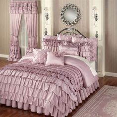 The romantic Enchante Ruffled Comforter Bedding billows with exquisite grace. Oversized comforter features a dusty mauve, polyester satin face with dash quilting throughout; the lower half has mini ruffles ending in ruffled layers. Elegant Comforter Sets, Bedroom Comforter Sets, King Comforter, Satin Bedding, Luxury Bedding, Ruffle Bedspread, Elegant Bedroom Design, Bed Linen Australia, Cama King