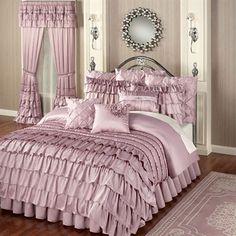 Enchante Dusty Mauve Ruffled Comforter Bedding