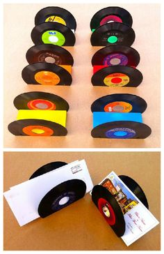 Old vinyl, reused, and bought back to life as documents folders to be put on your desk. File away your letters, postcards and paperwork with upcycled style! Idea sent by Ale POT ! Vinyl Record Projects, Vinyl Record Art, Vinyl Art, Vinyl Records, Record Decor, Vinyl Crafts, Diy And Crafts, Crafts For Kids, Document Folder