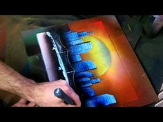 Simple Sunset Skyline - Spray Paint Art - YouTube Saw this site before and didn't keep the link - was just featured on MSN - So cool, check out the website and other vids too