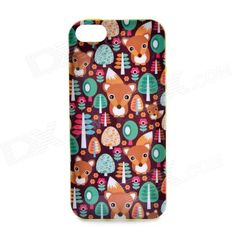 LOFTER Winter Sonata Fox Style Protective Back Case for Iphone 5S - Green + Brown
