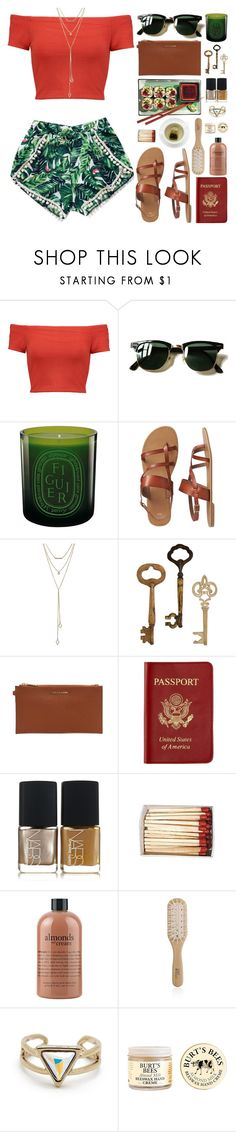 """""""shopping and reading."""" by tennessea-honey ❤ liked on Polyvore featuring Alice + Olivia, Ray-Ban, Diptyque, Gap, SUGARFIX by BaubleBar, MICHAEL Michael Kors, Passport, NARS Cosmetics, philosophy and Philip Kingsley"""