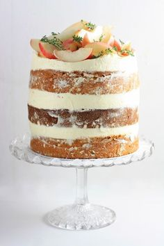 White Nectarine Thyme Limoncello Cake - From The Larder Baking Recipes, Cake Recipes, Dessert Recipes, Limoncello Cake, Bolos Naked Cake, Bon Dessert, Mothers Day Cake, How Sweet Eats, Homemade Cakes