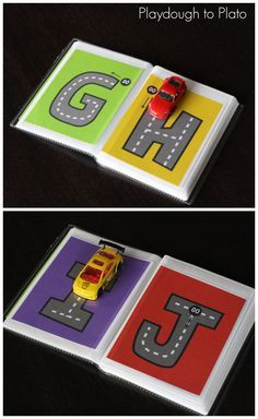 Letter tracing just got way cooler!! Slide these FREE alphabet pages into a dollar store photo album and play away.